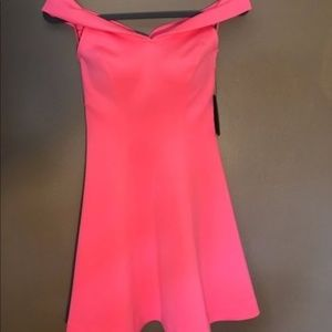 GUESS off the shoulder fit and flare dress